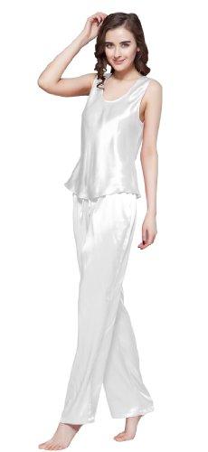 lilysilk ensembles de pyjama 100 soie pour femme uni 22 momme l blanc mode. Black Bedroom Furniture Sets. Home Design Ideas